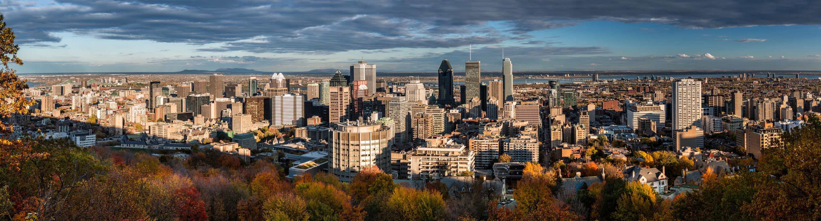 Montreal panorama as viewed from the Mount Royal on a late afternoon.
